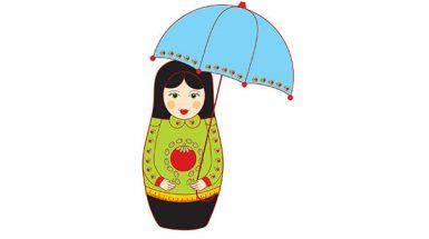 בבושקה עם מטרייה